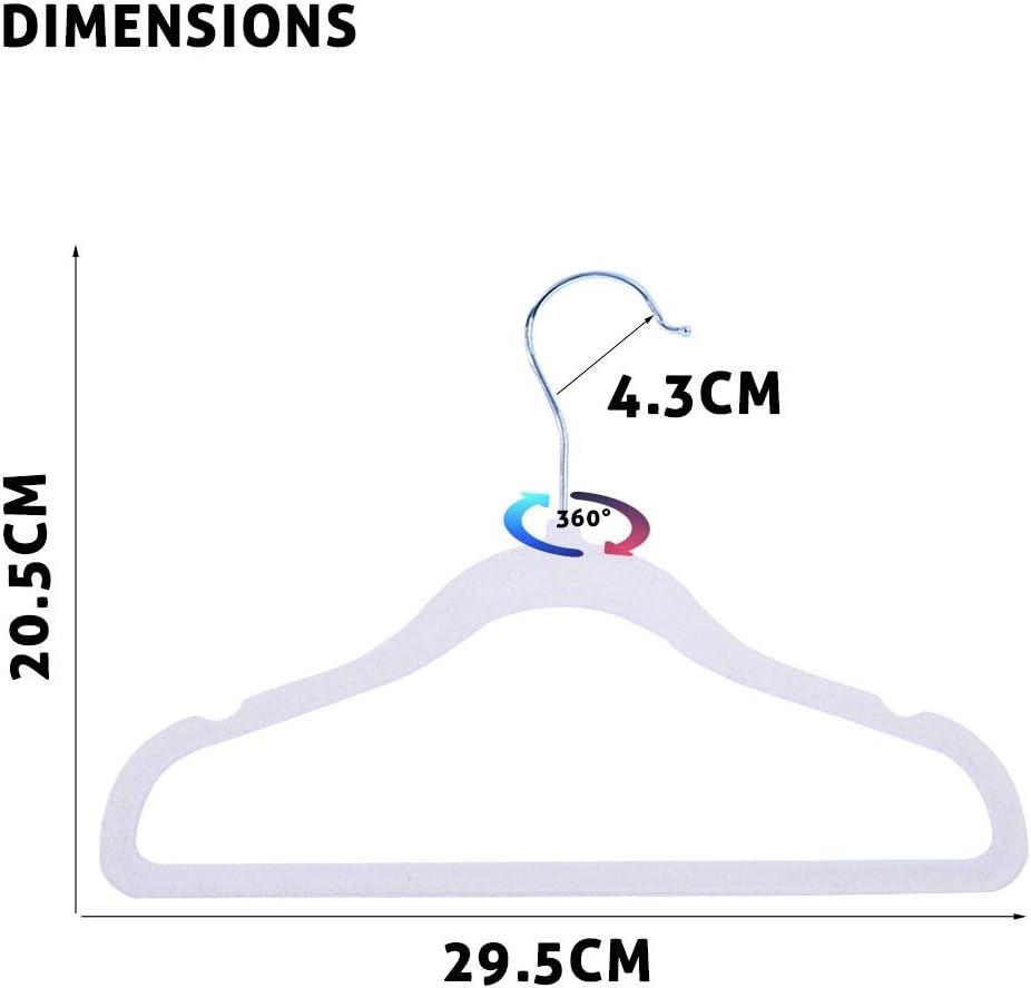 sfesnid Grucce Appendiabiti in velluto per bambini gancio girevole a 360 gradi cromato ultra sottile Set di 20 pezzi 29,5CM