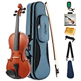 Eastar EVA-1 Full-Size 4/4 Violin Set For Beginner Student with Hard Case, Rosin, Shoulder Rest, Bow, Clip-on Tuner and Extra Strings