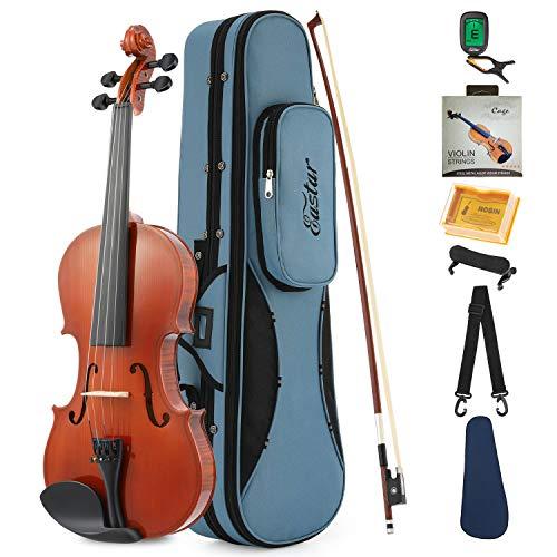 Eastar EVA-1 1/2 Natural Violin Set For Beginner Student with Hard Case, Rosin, Shoulder Rest, Bow, Clip-on Tuner and Extra Strings
