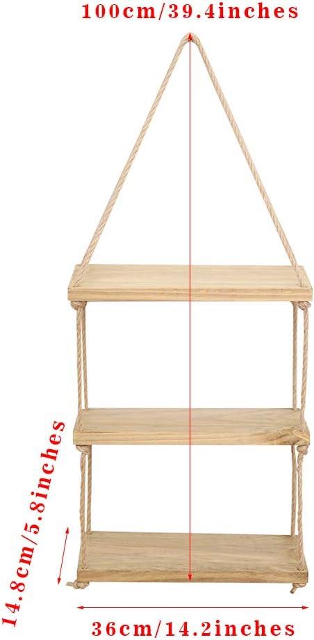 Inmozata estantes flotantes con estante de cuerda para colgar en la pared 2 niveles estante de pared para sala de estar o dormitorio madera
