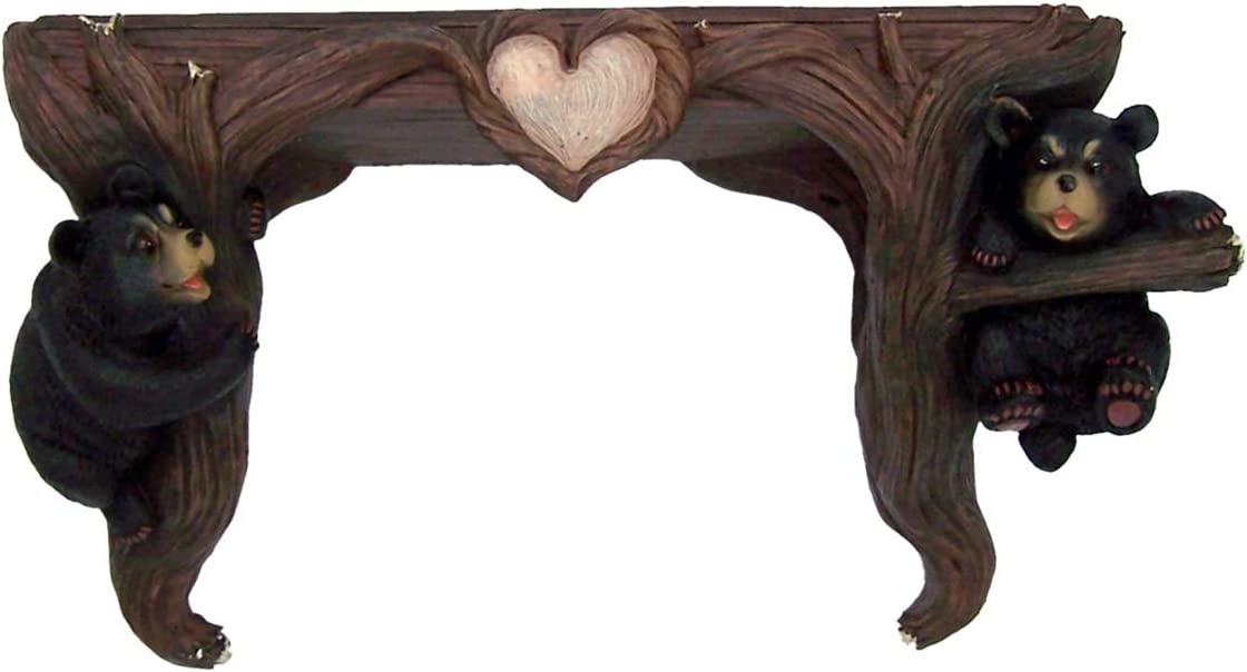 Wood Grain Rustic Log Cabin Decor Black Bear Cast Resin Wall Mounted Shelf, 13 1/2 Inches