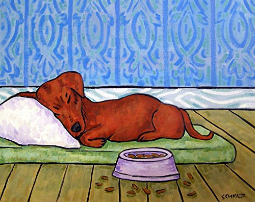 Dachshund Sleeping with dog Bowl Signed art print gifts prints