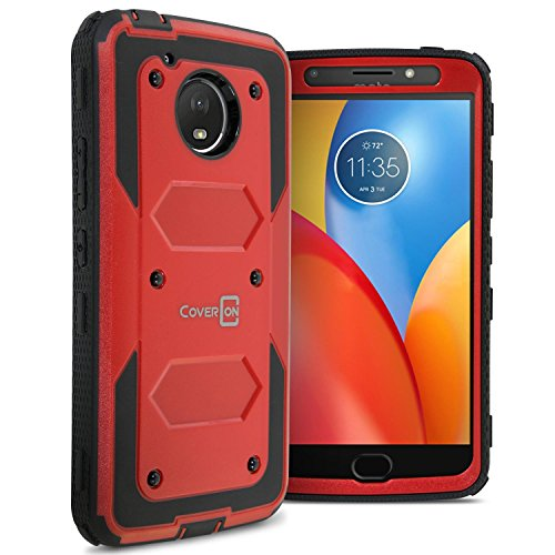Moto E4 Plus Case (USA Version Only), CoverON Tank Series Full Body Front and Back Heavy Duty Hard Protective Phone Cover - Red