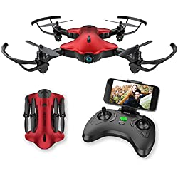 Spacekey FPV Wi-Fi Drone for Kids, One-Key Take-Off, Landing Foldable Arms (Red)
