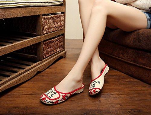 Insun Kvinna Broderi Kinesisk Dagdrivare Sandaler Beige