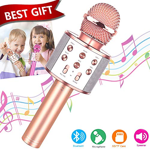 Toys For 7 8 9 10 11 Years Old Girls,Best Present Gifts For 6-15 Years Old Girl Boy,Bluetooth Wireless Karaoke Machine, Party Favor for Teen Boys Girls Toys Age 4-12 Gifts Toys for Teens Boy Rose Gold (Top Gift Ideas For 11 Yr Old Girl)
