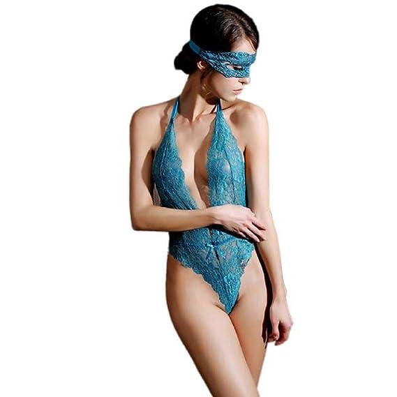VJGOAL Mujer Encaje Sexy Profundo v Perspectiva de tentación Ropa Interior  siamesa Ropa Interior erótica Ropa f8f0c866fd63