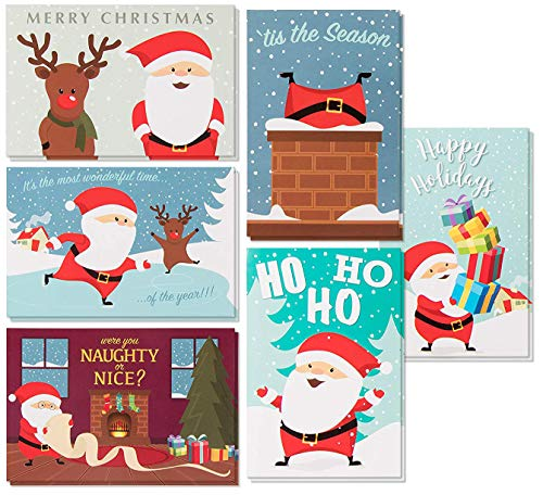 (48-Pack Merry Christmas Holiday Greeting Card - Happy Holidays Xmas Cards in 6 Cute Santa Claus Designs, Bulk Assorted Festive Winter Holiday Cards with Red Envelopes, 4 x 6 Inches)
