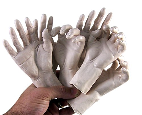 Sunstar Industries Set of 6 Plastic Zombie Hands for Halloween Party Decoration -