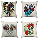 Calcifer 18 x18 Inch (45x45cm) Retro Skull Designs Durable Cotton Linen Throw Pillows Sheel Case Cushion Covers For Home Sofa Decorative (Set of 4)