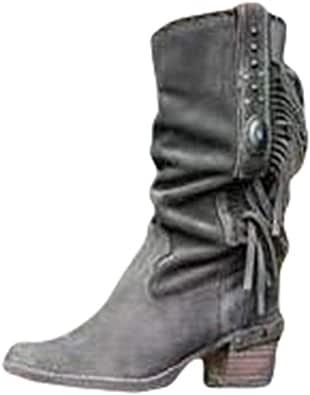 Mujer Botas Medias Moda Borla Botas de Gamuza Sintética Vintage Botas Largas Suave Plisado Botas de Flecos Tacón Medio Botas Casuales