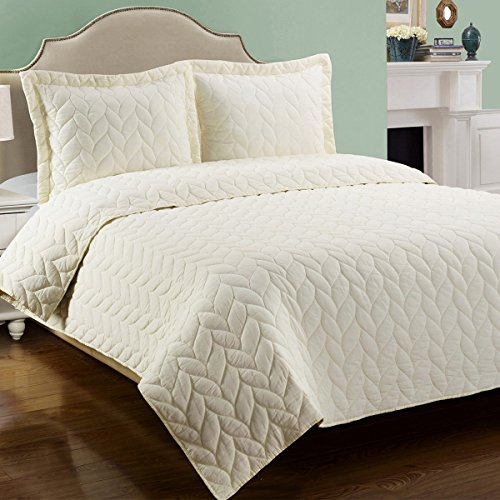 GoLinens Luxury 100% Cotton Braided Ashley Designed Quilt Set with Matching Pillow Shams - Full/Queen - Sage