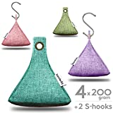 Bambrez Activated Moso Bamboo Charcoal air purifier hanging hook bags natural freshener odor deodorizer cleaner for car home kitchen bath baby pet mold toxins 4 x 200 Gram 4 Pack - Summer Collection