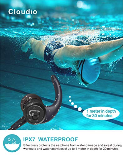 Cloudio S1 Bluetooth Sports in-Ear Headphones Best Wireless Stereo Earbuds Magnet IPX7 Sweatproof Bath Shower Swimming Waterproof Earphones Mic Running Workout 9 Hrs Noise Cancelling Headsets by Cloudio (Image #1)