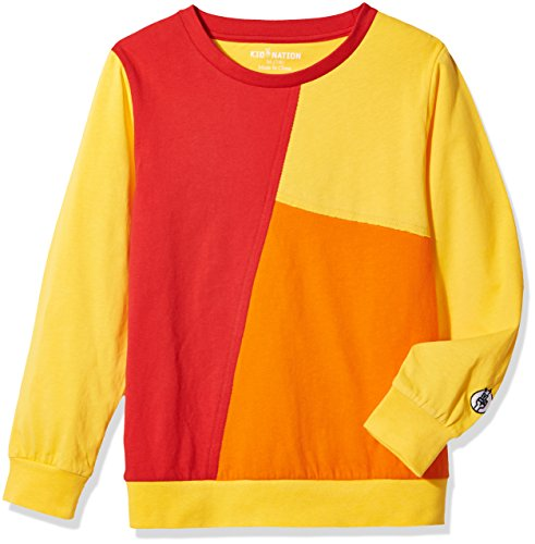 Kid Nation Kids' Long Sleeve Contrast Patchwork T-Shirt for Boys or Girls M Yellow/Red/Orange