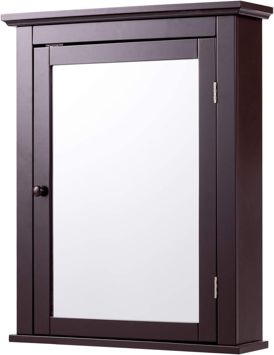 Tangkula Bathroom Cabinet, Mirrored Wall-Mounted Storage Medicine Cabinet, Cabinet with Single Door Adjustable Shelf in 3 Positions, Multipurpose Cabinet for Bathroom, Vestibule, Bedroom Brown