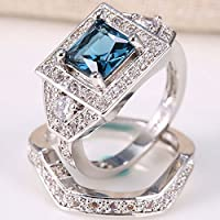 elegantshop Charming Women 925 Silver Blue Topaz & White Sapphire Ring Set Wedding Size 6-10 (9)