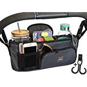Stroller Organizer with Cup Holder, Carry Handle + Stroller Bag Hook! Unique Collapsible Design Stroller Caddy & Rigid Top Means it Wont Sag & Lose Shape like other Baby Organizer Stroller Accessories