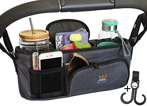 Stroller Organizer with Cup Holder, Carry Handle + Stroller Bag Hook! Unique Collapsible Design Stroller Caddy & Rigid Top Means it Wont Sag & Lose Shape like other Baby Organizer Stroller Accessories from Organized Empire