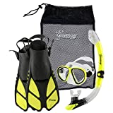 Seavenger Diving Snorkel Set- Dry Top Snorkel / Trek Fin / 2-windows Tempered Glass Mask / Gear bag- Yellow - Small/Medium