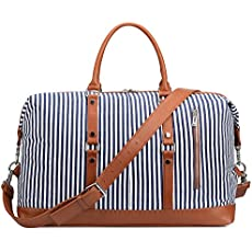 a14879e5f4 S-ZONE Oversized Canvas PU Leather Trim Travel Duffel Bag Weekender Bag for  Women and