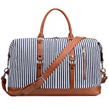S-ZONE Oversized Canvas PU Leather Trim Travel Duffel Bag Weekender Bag for Women and Ladies (Blue)