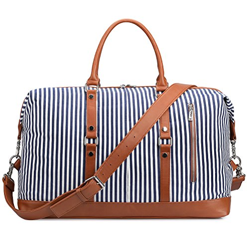 (S-ZONE Oversized Canvas PU Leather Trim Travel Duffel Bag Weekender Bag for Women and Ladies (Blue))
