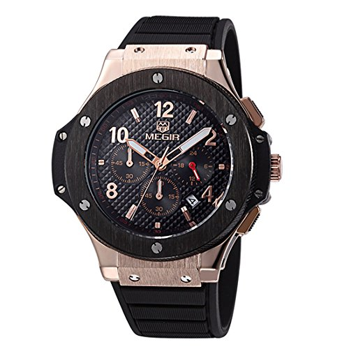Men's 24 Hr sub-dail Military Sports Watches Chronograph Quartz Analog Wristwatch for Man - Wrist Hr 24 Watch