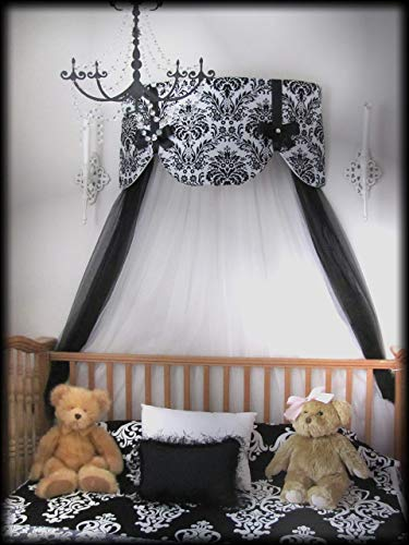 Design Satin Scalloped (Crib Canopy Nursery Bed Crown Cornice Teester Swag Suzette Bows Damask Bedroom FrEE Curtains Baby Girls Custom Design So Zoey Boutique SALE)