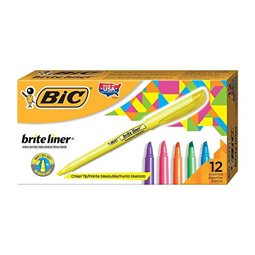 Brite Liner Highlighter, Chisel Tip, Assorted Colors, 12-Count by BIC (Image #1)