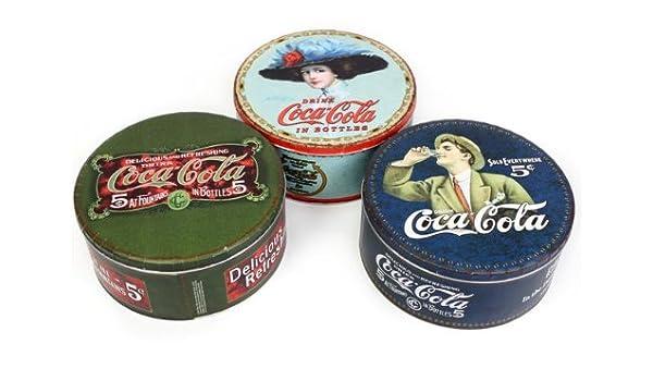 Set de 3 latas para dulces con Coca Cola diseños clásicos: Amazon.es: Hogar