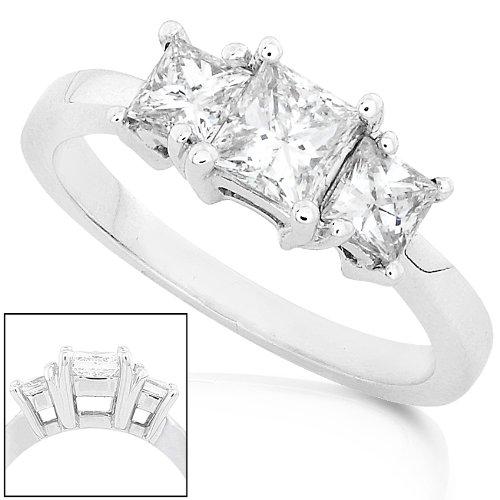 Three Stone Princess Cut Diamond Ring 1.00ctw in 14K White Gold - Size 8