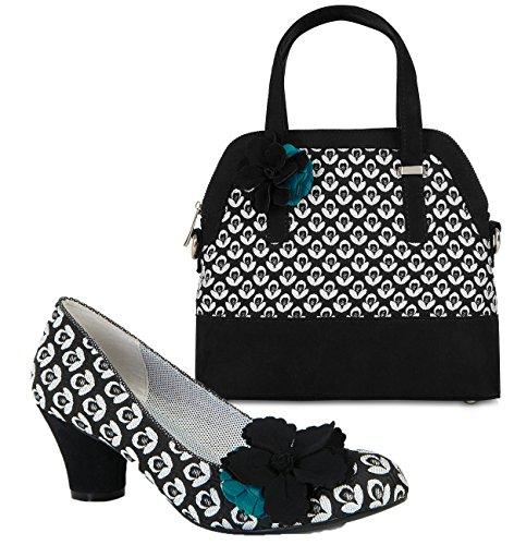 Ruby Mid Court Matching amp; Bag Pumps Pisa Turquoise Shoo Heel Black Samira Shoe Women's CqxtHAq