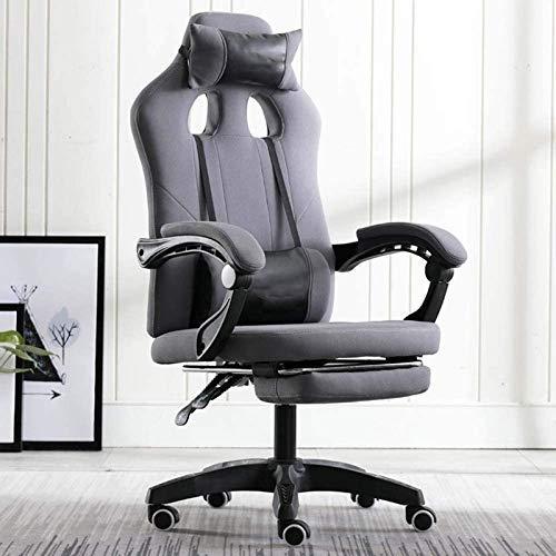 Silla de oficina, adulto Gaming Silla reclinable Racing, pies de nylon de desplazamiento de la polea, con reposacabezas y almohada cintura escritorio ergonomico ordenador y silla sedentario cintura si