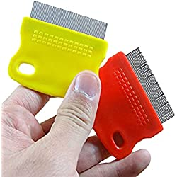 Topbeu 2PCS Pet Dog Cat Flea Combs Fine Teeth Grooming Tool