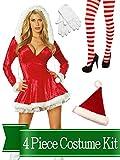 BirthdayExpress Miss Santa Claus Sexy Sleigh Belle Womens Complete Costume Kit - Standard