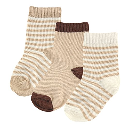 Hudson Baby Touched By Nature Organic Socks 3 Pack, Tan, 6-12 Months