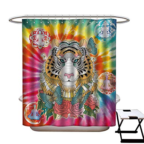 BlountDecor Animal Shower Curtain Collection by Tiger Head with Ornaments Butterflies and Roses Human Figures Lotus Position Globes Patterned Shower Curtain W36 x L72 Multicolor ()