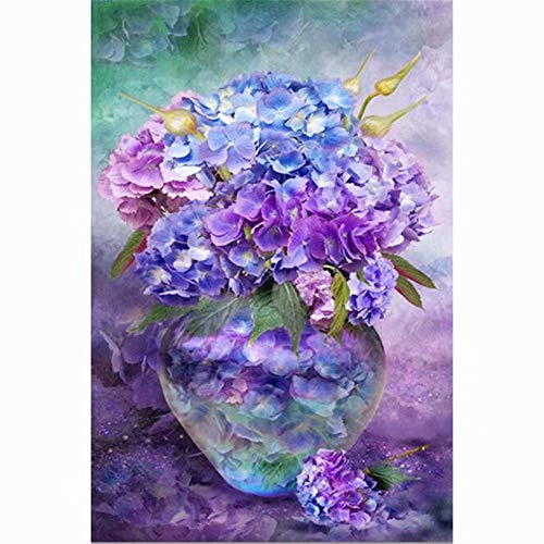 5D DIY Square Diamond Painting Set Decorating Wall Stickers for Living Room,Flowers in Bottles 18x24 inch / 45x60 cm ()
