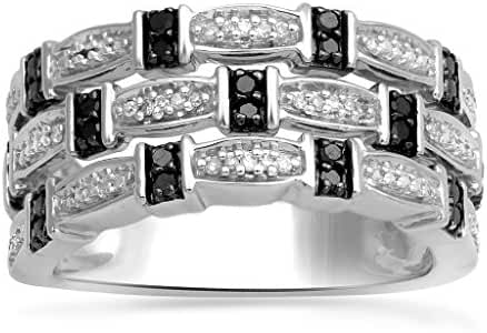 Jewelili Sterling Silver Black And White Diamond Band Ring, Size 7