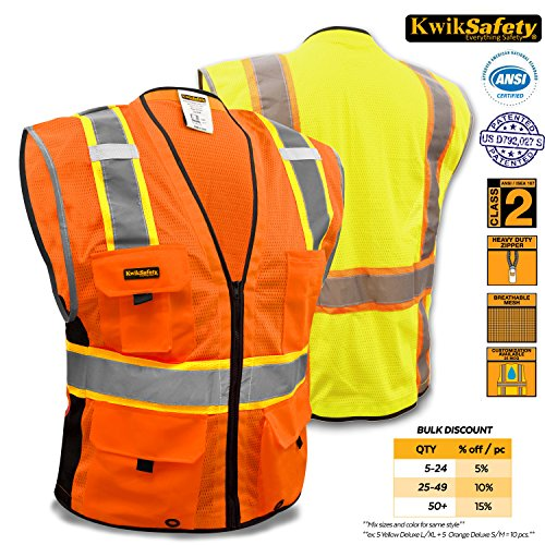 KwikSafety Class 2 Orange Deluxe Safety Vest   Hi Vis Bre...