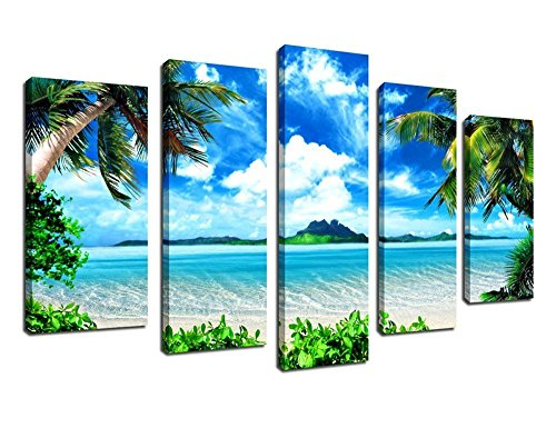 er Sea Beach Painting Prints on Canvas Framed Ready to Hang - 5 Pieces Canvas Art Seascape Contemporary Pictures Artwork for Home Decoration (Canvas Pieces)