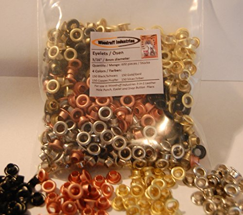 """600 (150 of each colour: BLACK, COPPER, GOLD, SILVER) eyelet pieces 8mm (5/16"""") finished size   5mm (13/64"""
