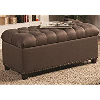 1PerfectChoice Accent Upholstered Tufted Seat Storage Bench Ottoman Mocha Fabric Nailhead Trim