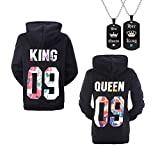 YJQ King Queen Matching Couple His and Her Pullover Hoodies + Necklace Black Men L + Women XL