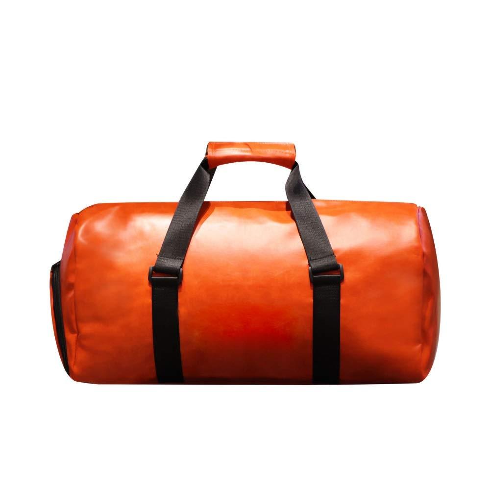 本革旅行ウィークエンダー一晩ダッフルバッグジムスポーツ荷物トートダッフルバッグ用男性&女性 (Color : Orange) B07QPK8BMF