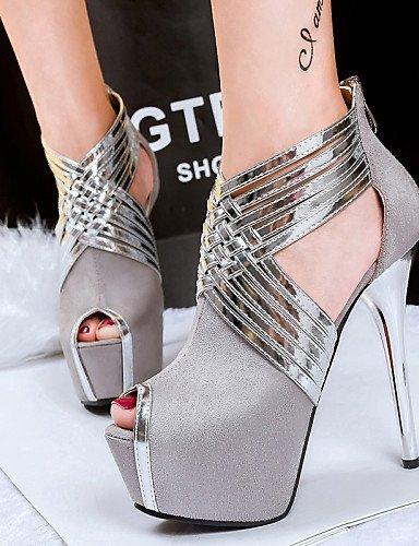 Talons Chaussures forme De Plate Gris Bleu Sandales Aiguille Ouvert Confort Rose Shangyi Casual Toe Talon Rose Femmes Peep Orteils Noir fzrzqE