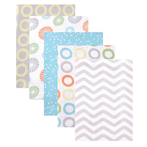 Luvable Friends Unisex Baby Cotton Flannel Receiving Blankets, Yellow Basic 5-Pack, One Size