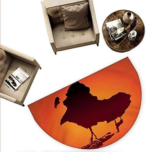African Half Round Door mats Safari Map with Continent Giraffe and Tree Silhouette Savannah Wild Design Bathroom Mat H 74.8
