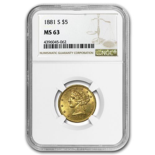 1881 S $5 Liberty Gold Half Eagle MS-63 NGC G$5 MS-63 NGC